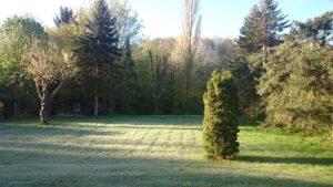 Garten und wildes Tal am frühen Morgen